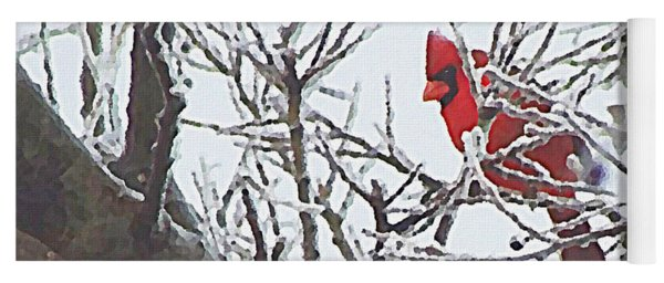 Snowy Red Bird A Cardinal In Winter Yoga Mat