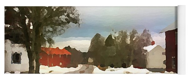 Snowy Street With Red House Yoga Mat