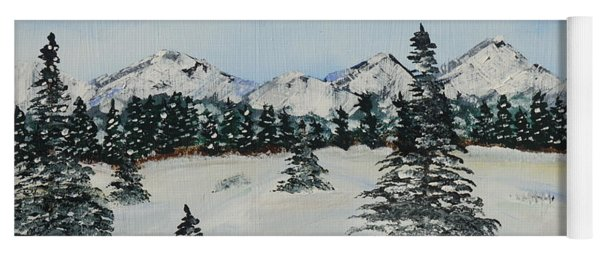 Yoga Mat featuring the painting Snowy Winter by Jimmy Clark