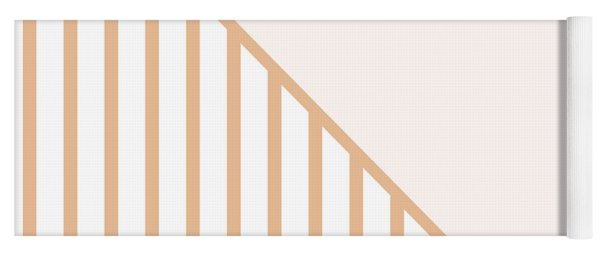 Soft Blush And Coral Stripe Triangles Yoga Mat
