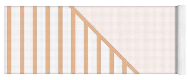 Soft Blush And Coral Stripe Triangles Yoga Mat