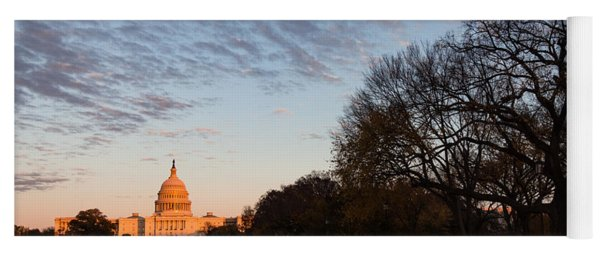 Soft Orange Glow - U S Capitol And The National Mall At Sunset Yoga Mat