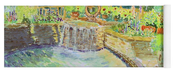 Soft Waterfall In The Pool Of Gibbs Gardens Yoga Mat