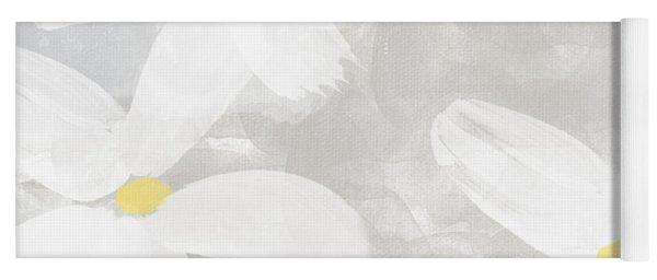 Soft White Flowers Yoga Mat