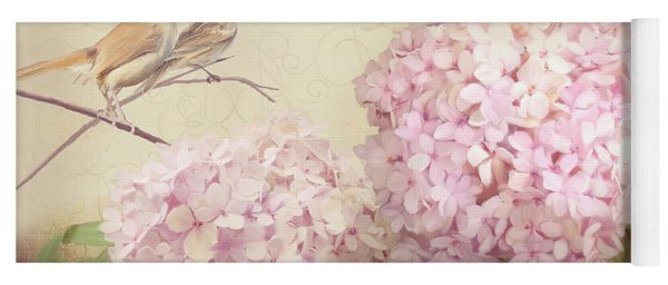 Softly Summer - Carolina Wrens W Blush Pink Hydrangeas Yoga Mat