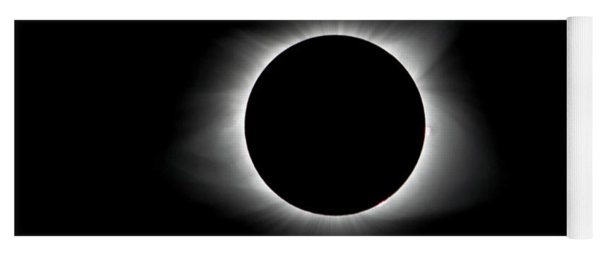Yoga Mat featuring the photograph Solar Eclipse Ring Of Fire With Text by Lori Coleman