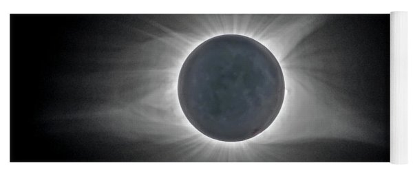 Yoga Mat featuring the photograph Solar Eclipse With Moon Detail And Text by Lori Coleman