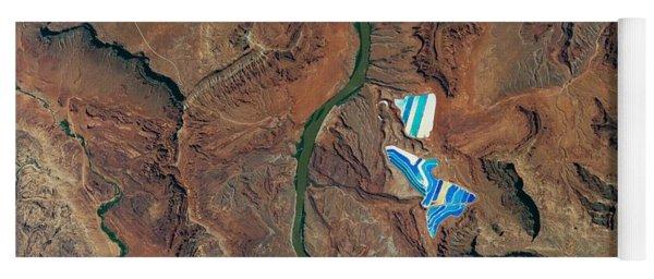 solar evaporation ponds outside the city of Moab, Utah Yoga Mat