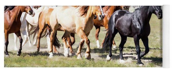 Yoga Mat featuring the digital art Sombrero Ranch Horse Drive, Galloping Horses by Nadja Rider