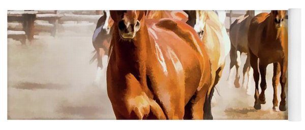 Yoga Mat featuring the digital art Sombrero Ranch Horse Drive, Galloping Into The Dusty Corrals by Nadja Rider