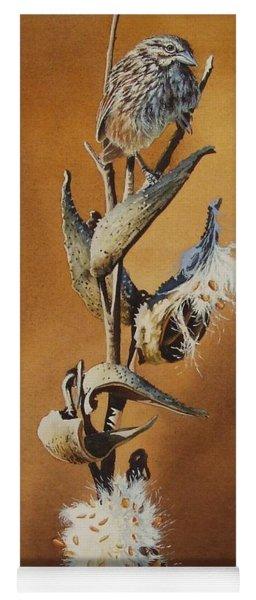 Song Sparrow And Milkweed Yoga Mat