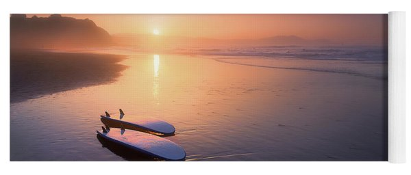 Sopelana Beach With Surfboards On The Shore Yoga Mat