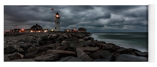 Stormy Clouds Over Old Scituate Lighthouse In The Early Morning Yoga Mat