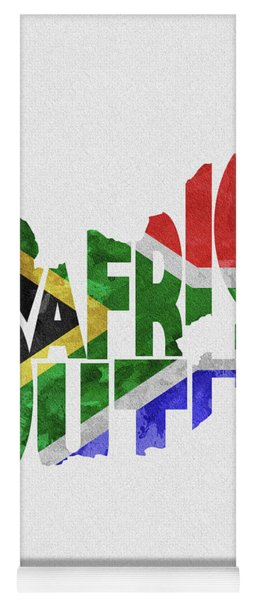 South Africa Typographic Map Flag Yoga Mat