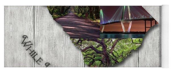 South Carolina State Map Collage Yoga Mat