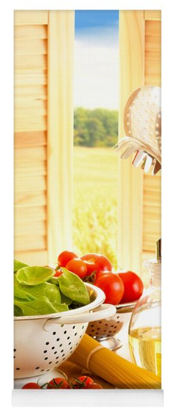 Spaghetti And Tomatoes In Country Kitchen Yoga Mat