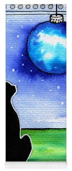 Sparkling Blue Bauble - Christmas Cat Yoga Mat