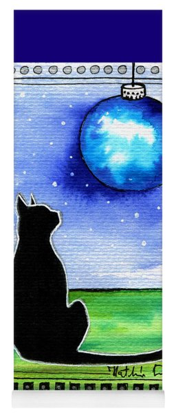 Sparkling Blue Bauble - Christmas Cat Yoga Mat