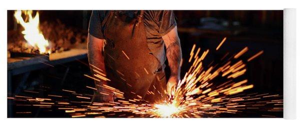 Sparks When Blacksmith Hit Hot Iron Yoga Mat