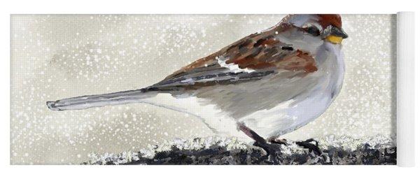 Sparrow In The Snow Yoga Mat