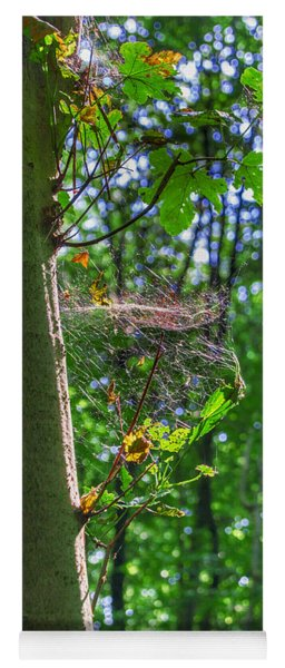 Spider Web In A Forest Yoga Mat