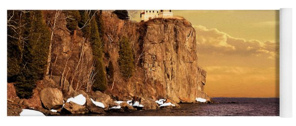 Yoga Mat featuring the photograph Split Rock Lighthouse by Susan Rissi Tregoning