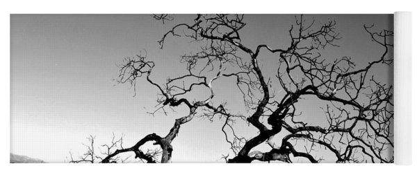 Split Single Tree On Hillside - Black And White Yoga Mat