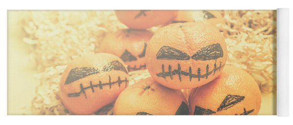 Spooky Halloween Oranges Yoga Mat