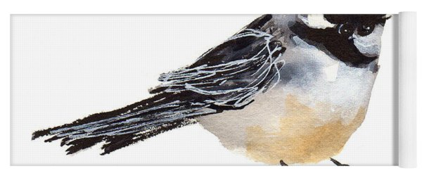 My Little Chickadee Bird Art Watercolor And Gouache And Ink Painting By Kmcelwaine Yoga Mat