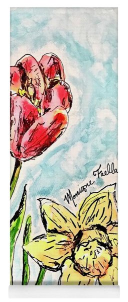 Yoga Mat featuring the painting Spring Flowers by Monique Faella