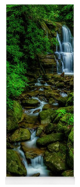 Spring Green Waterfall And Rhododendron Yoga Mat