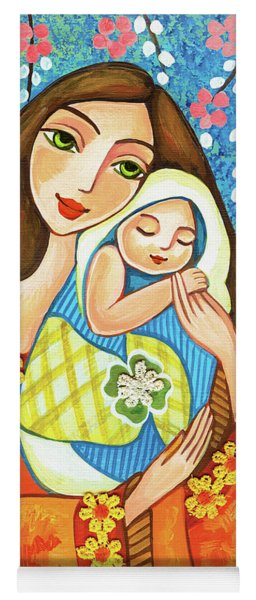 Yoga Mat featuring the painting Spring Mother by Eva Campbell