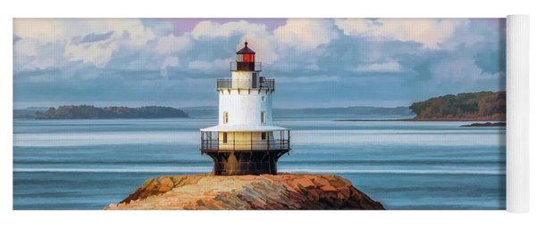 Yoga Mat featuring the painting Spring Point Ledge Lighthouse by Christopher Arndt
