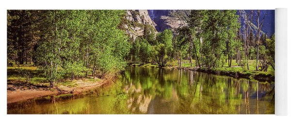 Yoga Mat featuring the photograph Spring Reflections Of Yosemite Falls by Lynn Bauer