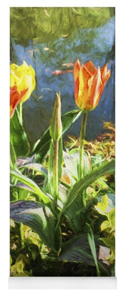 Spring Tulips At Lakeside  In Giverny  Yoga Mat