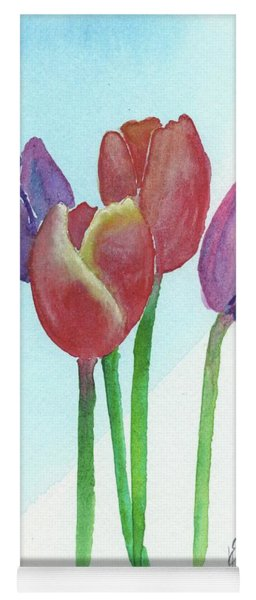 Yoga Mat featuring the painting Spring Tulips by Betsy Hackett