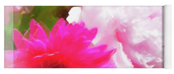 Square Pink Flower Impressions Yoga Mat
