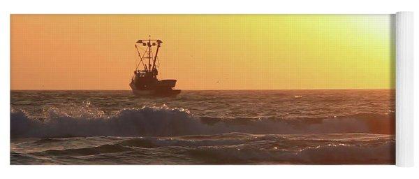 Squid Boat Golden Sunset Yoga Mat