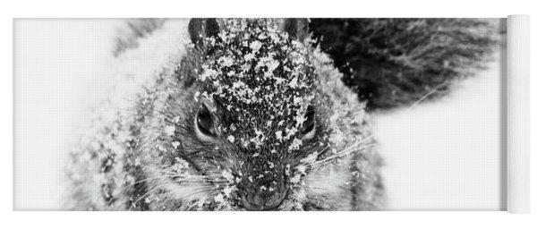 Squirrel In Snow Storm Yoga Mat