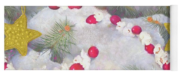 Yoga Mat featuring the painting Squirrel In Snow With Cranberries by Nancy Lee Moran