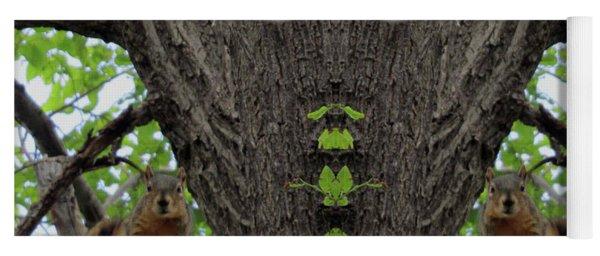 Squirrels Advising The Tiki God Yoga Mat