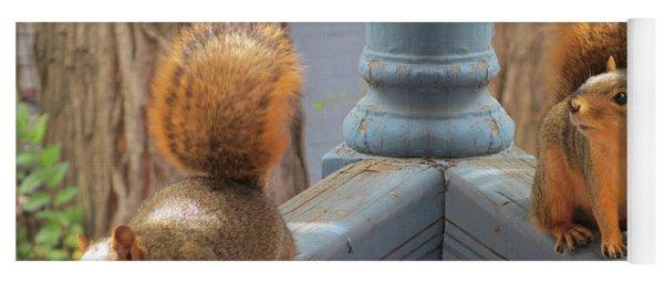 Squirrels Balancing On A Railing Yoga Mat