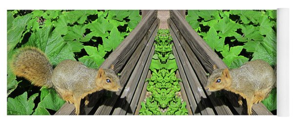 Squirrels On Fence In Surreal World Yoga Mat