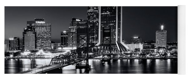 St Johns River Skyline By Night, Jacksonville, Florida In Black And White Yoga Mat
