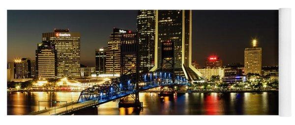 St Johns River Skyline By Night, Jacksonville, Florida Yoga Mat