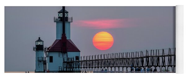 Yoga Mat featuring the photograph St. Joseph Lighthouse At Sunset by Adam Romanowicz