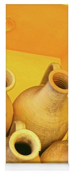 Stacked Yellow Jars Yoga Mat