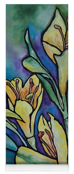 Stained Glass Flowers Yoga Mat