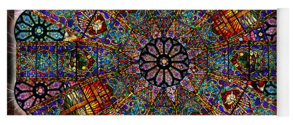 Stained Glass Mandala Yoga Mat