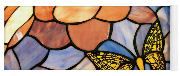 Yoga Mat featuring the photograph Stained Glass With Butterfly by Chris Flees